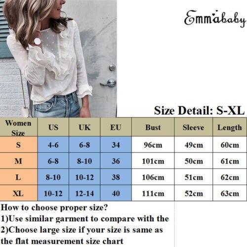 Lace Sexy Shirt Womens Ladies Fashion Ruffle Frill Long Sleeve Casual Top Shirt Blouse 2