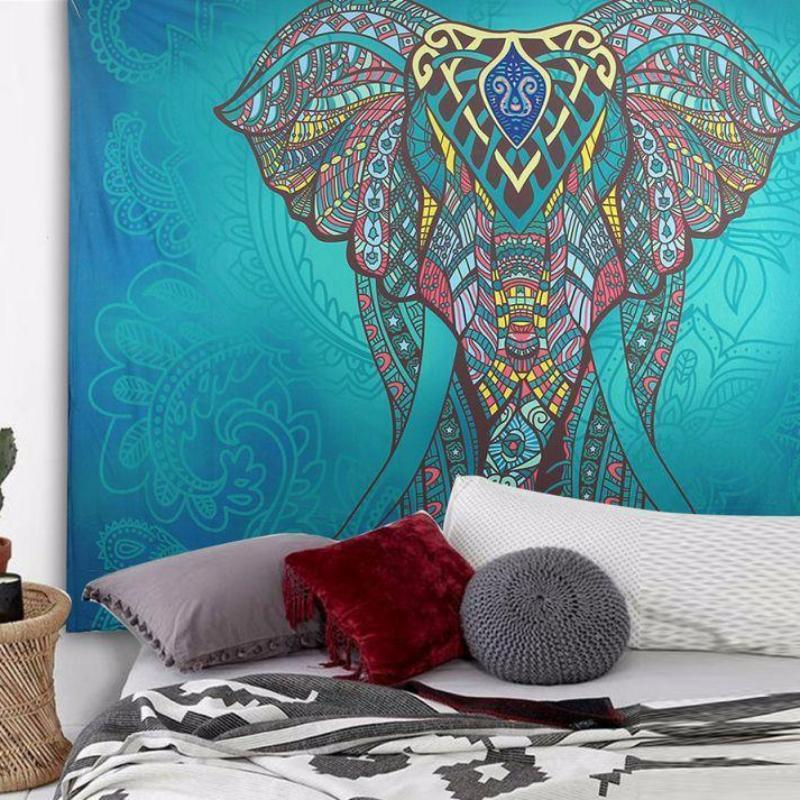 Boêmio Elefante Mandala Tapeçaria Da Suspensão De Parede Praia de Areia Jogar Cobertor Tapete de Piquenique Barraca de Acampamento Almofada de Dormir Viagem