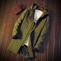 M-3XL Mens Abrigo Largo Trench Coat Hombres 2016 Nueva Otoño Larga Para Hombre Con Capucha Capa de Foso Delgada T383