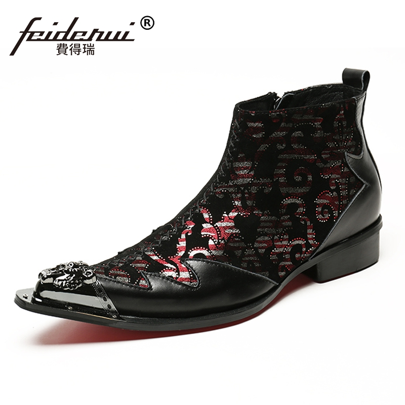 Plus Size Pointed Toe Metal Tipped Runway Man High-Top Shoes Luxury Designer Genuine Leather Men's Punk Rocker Ankle Boots SL134 plus size pointed toe slip on man glitter punk loafers luxury genuine leather studded wedding party men s runway shoes sl31