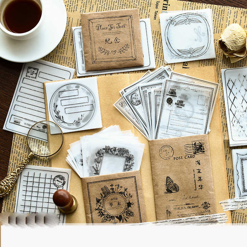 30pcs/lot Vintage Old Letter Kraft translucent Memo Pad Retro Cinema ticket Write Pad Sticky Notes Bookmark Office Stationery