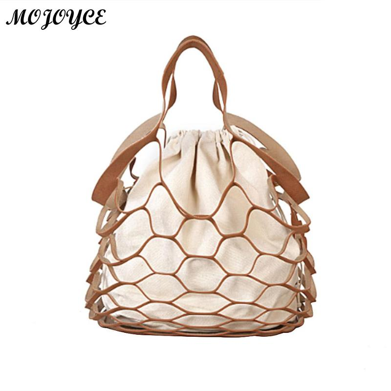 Fashion Hollow Out Mesh Design Women Handbags Holiday Tote Canvas Lady Summer Beach Bags Net Casual Shopping Bag String BucketFashion Hollow Out Mesh Design Women Handbags Holiday Tote Canvas Lady Summer Beach Bags Net Casual Shopping Bag String Bucket