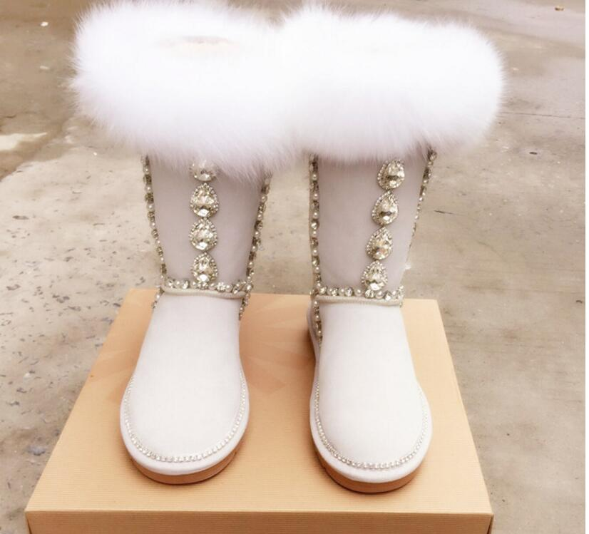 Hot Black/ Sand White Fox Genuine Leather Mid-Calf Boots Flats With Women's Shoes Round Toe Crystal jewel Snow Boots double buckle cross straps mid calf boots