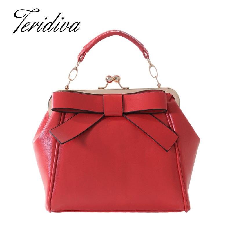 Teridiva Women Red and Black Shoulder Bags Vintage Bow Messenger Bag Shoulder Ha