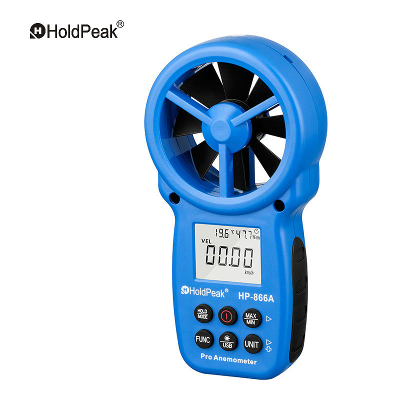 0.3~40m/s Anemometer Wind Speed Meter HoldPeak HP-866A Portable Air Flow Tester USB Interface Handheld -10~60'C Temperature Test ar216 air flow anemometer digital wind speed meter tester