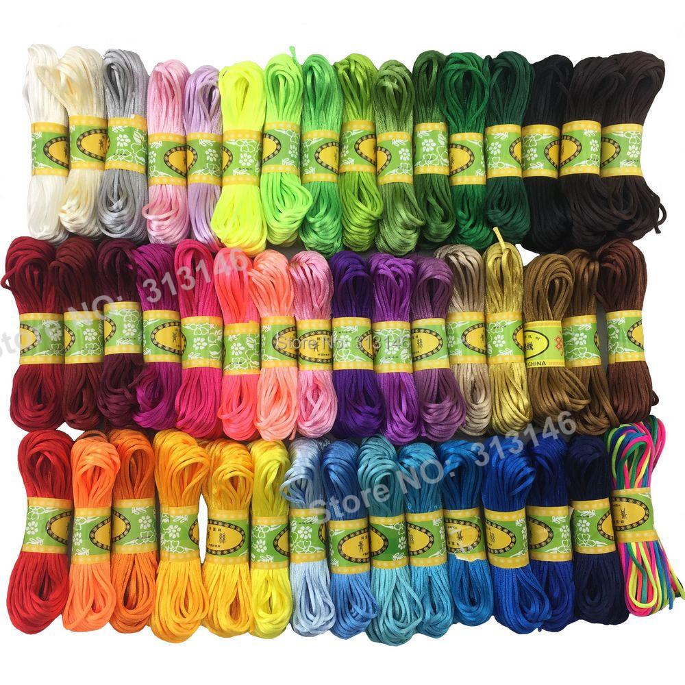47 cores 20m forte trançado macrame cetim de seda corda de cabo de náilon diy jóias pulseira fazendo descobertas fio de rosca 2mm