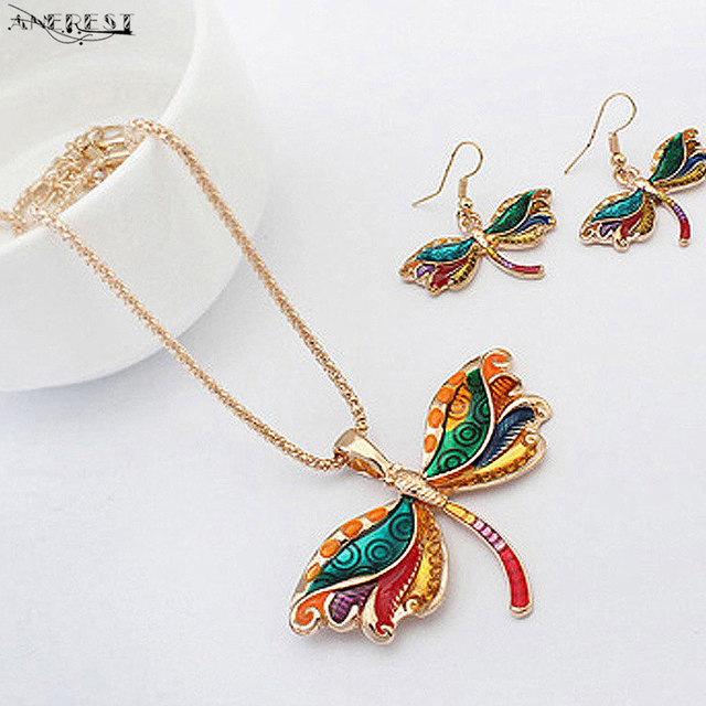 Dragonfly Pattern Jewelry Set Women Fashion Statement Jewelry