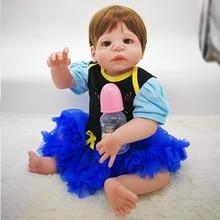 купить Cute 22inch Silicone Doll 55cm Full Silicone body Reborn Dolls Kawaii Girl Doll Reborn Realistic Lifelike BeBe Babies Brinquedos по цене 3012.06 рублей