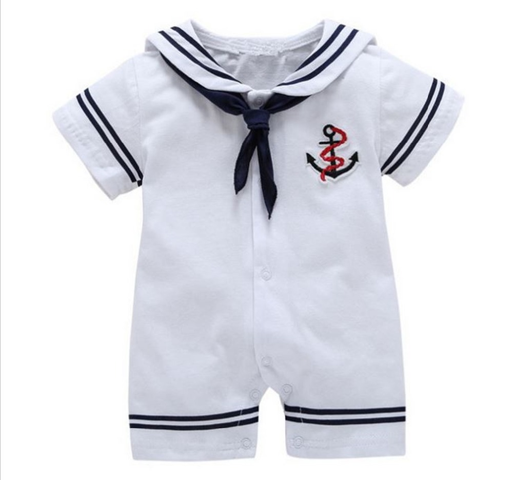 2017 Newborn baby clothes White Navy Sailor uniforms summer baby rompers Short sleeve one-pieces jumpsuit baby boy girl clothing 3pcs set newborn infant baby boy girl clothes 2017 summer short sleeve leopard floral romper bodysuit headband shoes outfits