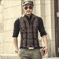 Stripped Men Fashion Vintage Autumn And Winter Thicken Plaid Men'S Waistcoats Woolen Vest Male Winter Brand Clothing A2808