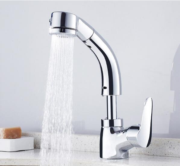 Robinet de lavabo de salle de bains robinet d'eau de salle de bains avec pulvérisateur pomme de douche chrome peut monter et descendre mélangeur de bassin