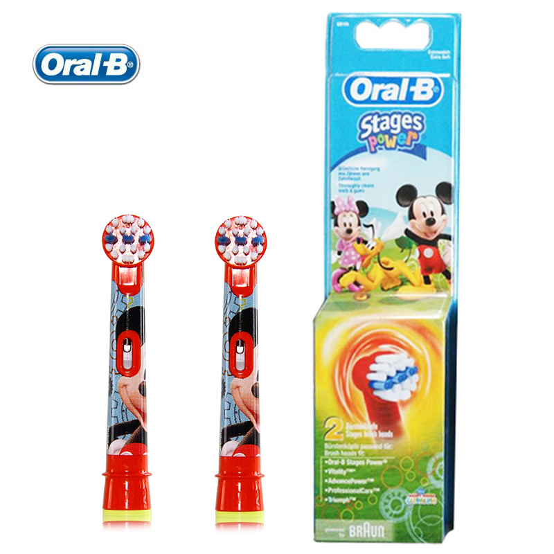 Oral B EB10 Replaceable Heads for Children Electric Toothbrush Mickey Mouse/Princess /Car Brush Heads Soft Bristle 2 heads/pack ultra soft children kids cartoon toothbrush dental health massage 1 replaceable head outdoor travel silicone retractable folding