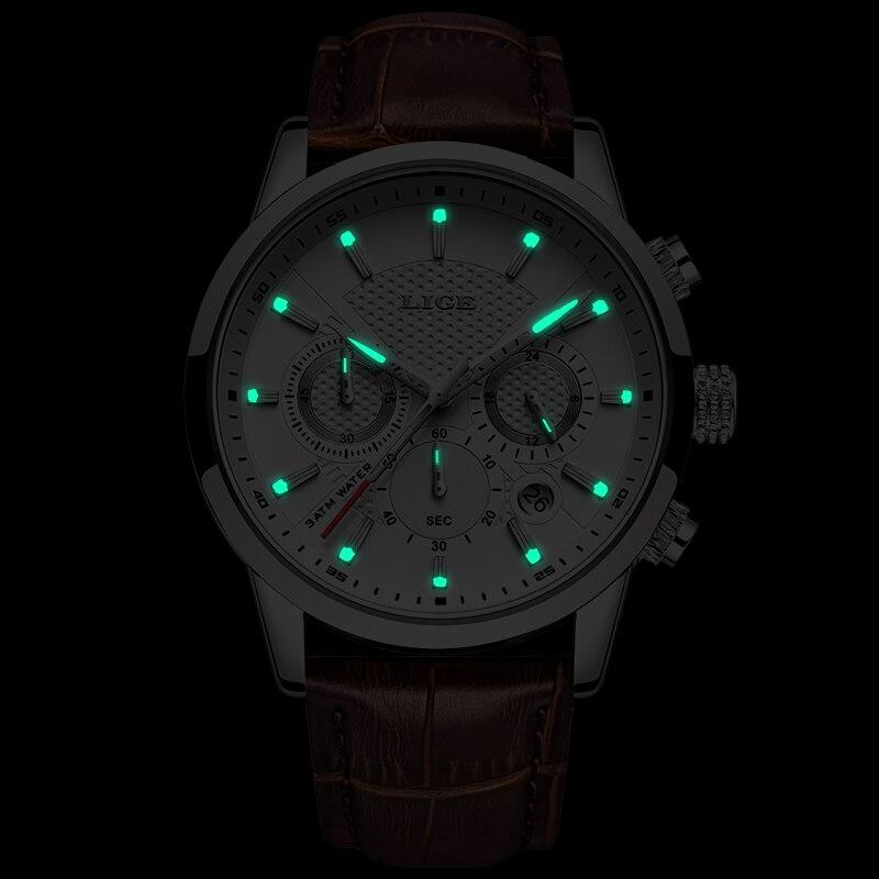 LIGE Brand Luxury Brown Leather Watch Men Fashion Sports Quartz Clock Mens Watches Business Waterproof Watch Relogio Masculino in Quartz Watches from Watches