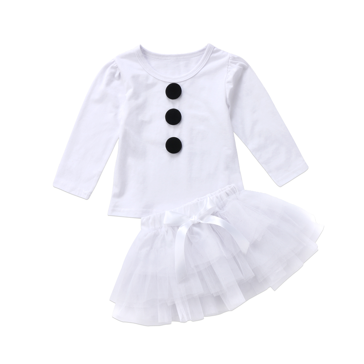 2017 2pcs Christmas Baby Kids Girls clothes set Princess Snowman long sleeves T shirt Tulle Tutu Party lace skirts xmas Outfits