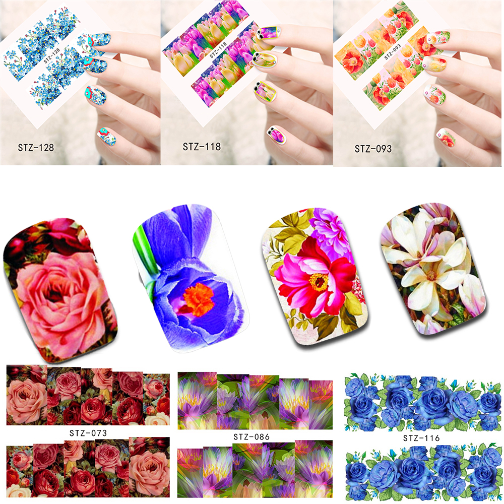 50 Sheets Nail Art Flower Water Sticker Nails Beauty Wraps