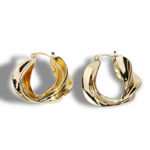 Gold Hammered Metal Hip Hop Rock Bamboo Leaf Leaves Hoop Earring Fashion Club Party Women Big Round Statement Ear Jewley