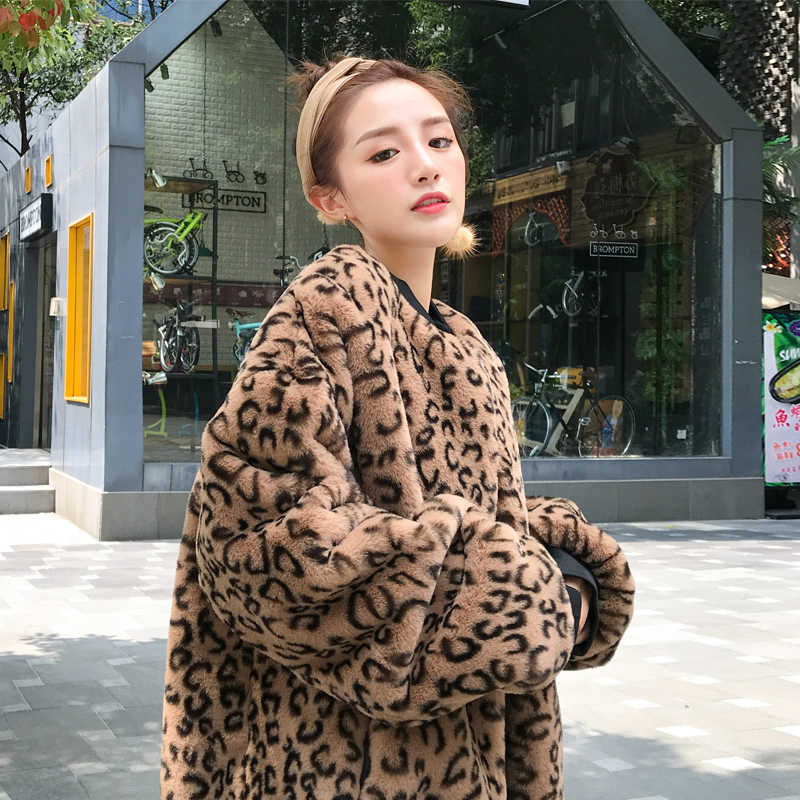 e485c204039d 2019 Leopard Jacket Women Faux Fur Long Coat Leopard Print Notched Collar  Long Sleeve Jacket Parka