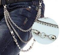 New Men Silver Multi 3 Strands Metal Link Wallet Chain Key Chain Biker Box Beads Link