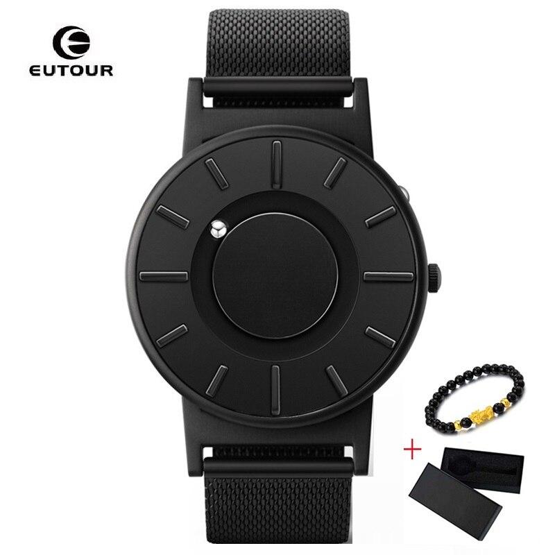 Nova EUTOUR Mens Homem de Quartzo Relógio de Mulheres relógios Bola Magnética Mostrar Os Tipos Correias Moda Casual Relógios de Pulso erkek kol saati 2019