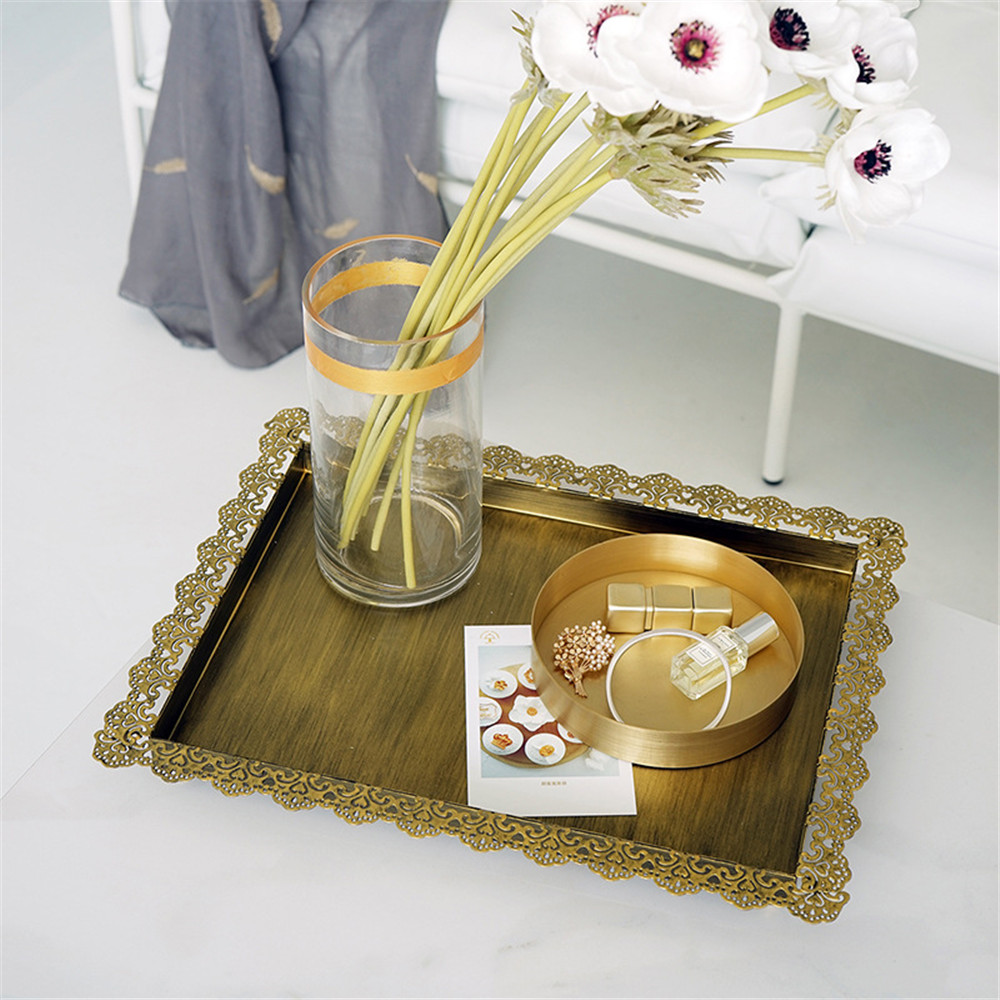 Nordic Metal Lace Side Storage Tray Chic Brass Vintage Fruit Cake Dessert Plate Vogue Gold Jewelry
