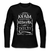 Avada Kedavra Bitch Potter Magic Muggles Wizard Women Long Sleeve Cotton Shirts Ladies T Shirts Wholesale spring t shirt