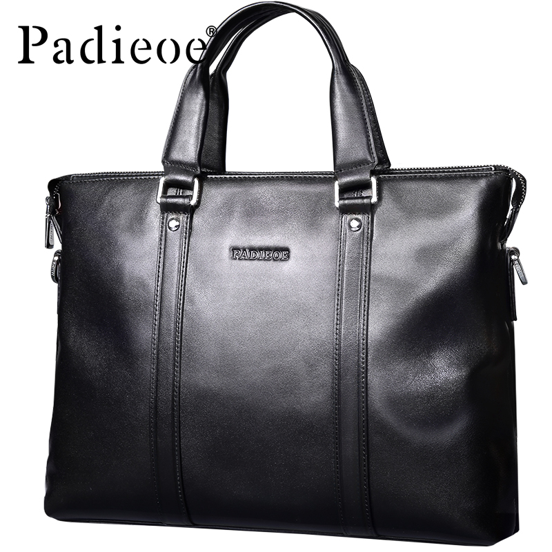 Padieoe Luxury Brand Men's Business Documents Bag Genuine Leather Totes Laptop Bag for Male Fashion Men Shoulder Portfolio Bag padieoe 2017 fashion genuine leather laptop bag high quality business men briefcase famous brand luxury documents bag for male