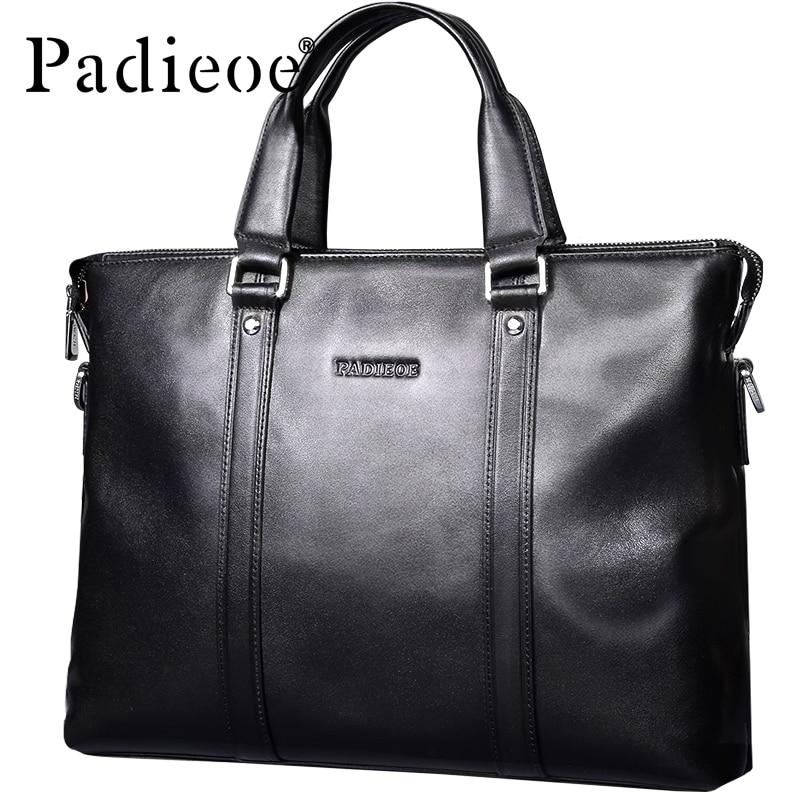Padieoe Luxury Brand Men's Business Documents Bag Genuine Leather Totes Laptop Bag For Male Fashion Men Shoulder Portfolio Bag