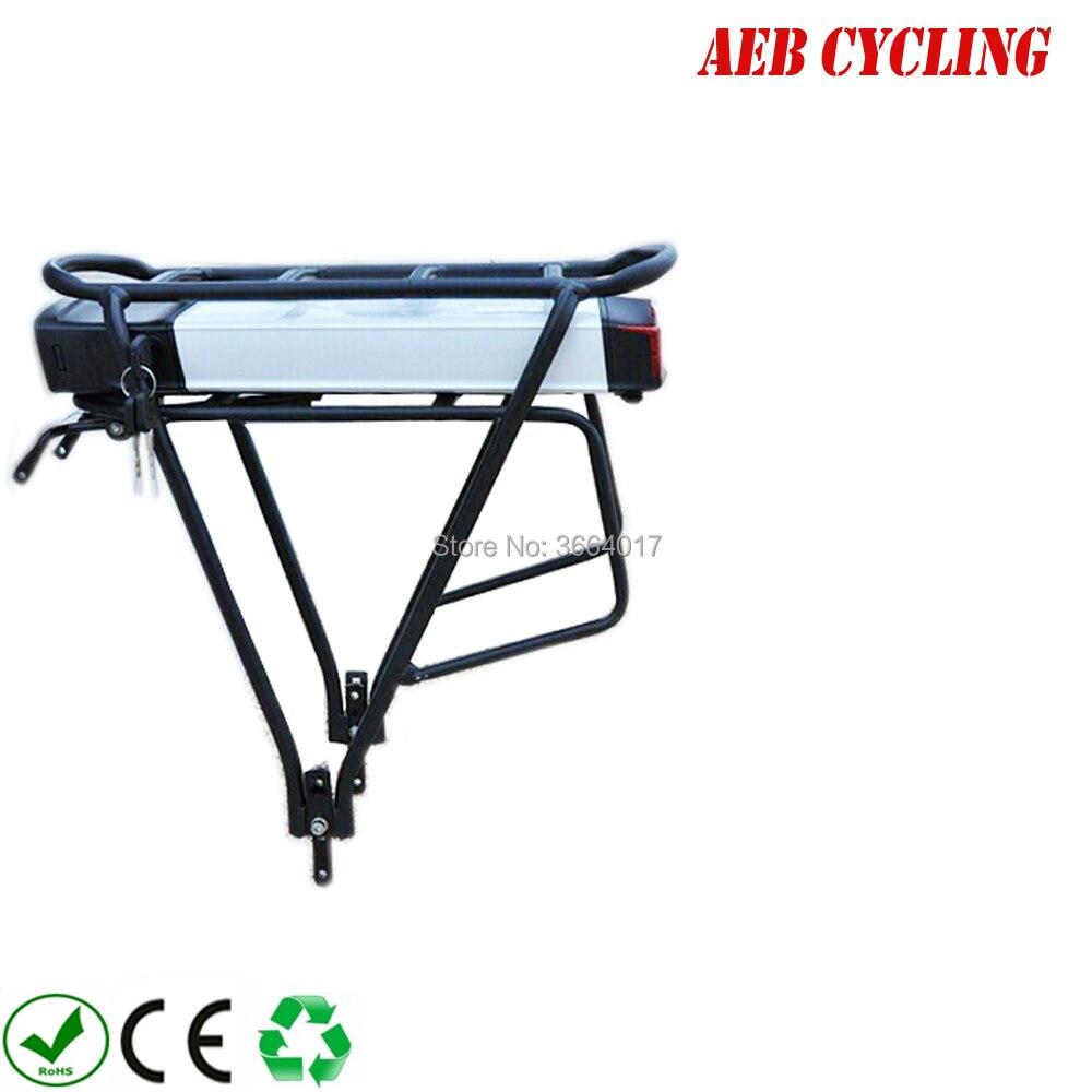 US EU No Tax Electric Bicycle 36V 10Ah 13Ah Rear Rack Battery for Bafang BBS01b BBS02b