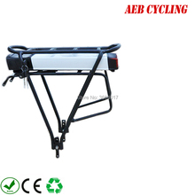 США ЕС нет налога Электрический велосипед 36 В 10Ah 13Ah сзади стойки Батарея для Bafang BBS01b BBS02b eBike Батарея + двойной Слои Чемодан стойки