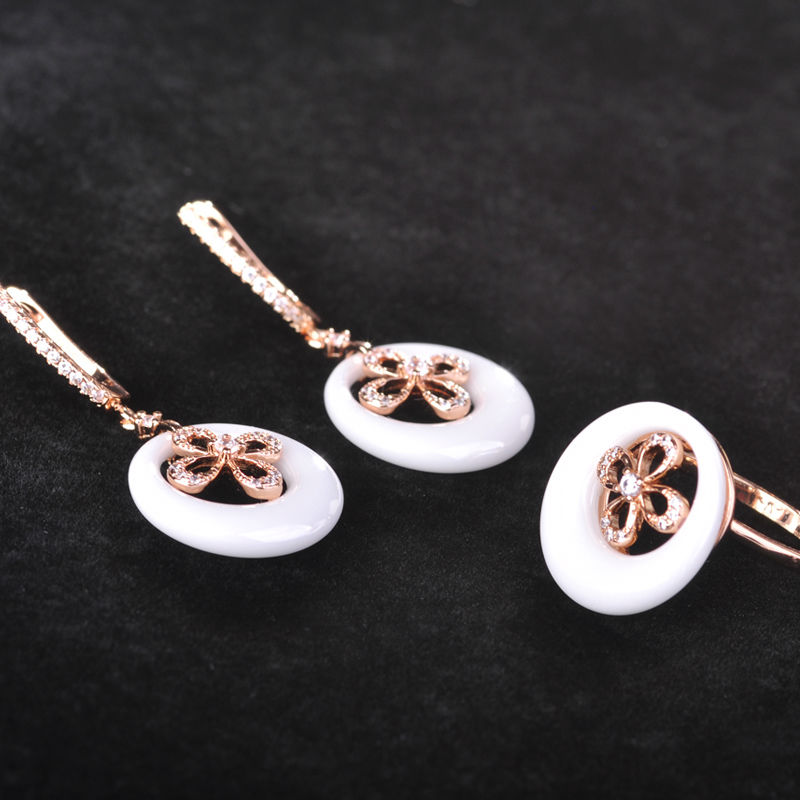 Blucome Zircon Rose Gold Color White Ceramic Jewelry Set Hollow Out Flower Earrings Ring Sets For Women Copper Wedding Jewelry a suit of fashionable zircon inlaid hollow out necklace and earrings for women