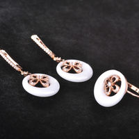 Blucome Zircon Rose Gold Color White Ceramic Jewelry Set Hollow Out Flower Earrings Ring Sets For Women Copper Wedding Jewelry