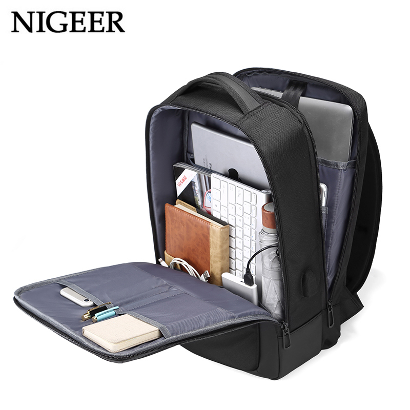 NIGEER Men 15.6 inch Laptop Backpack Multifunction with USB Charging Port Travel Mochila Student Teenage School Backpacks n1815