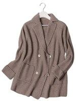 Высокое качество 100% козья кашемир вязаный женский модный кардиган свитер пальто средней длины двубортный Блейзер 3 цвета Европейский Разме