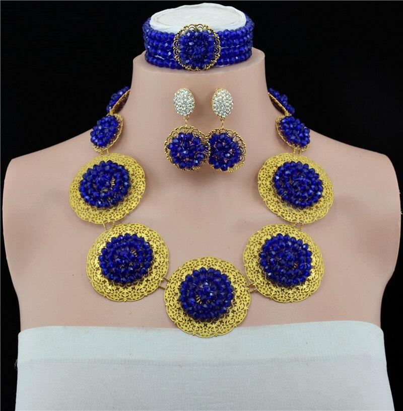 Mode élégant or-couleur collier nigérian bijoux de mariage déclaration or chaîne femmes vintage pendentif collier ensemble de bijoux