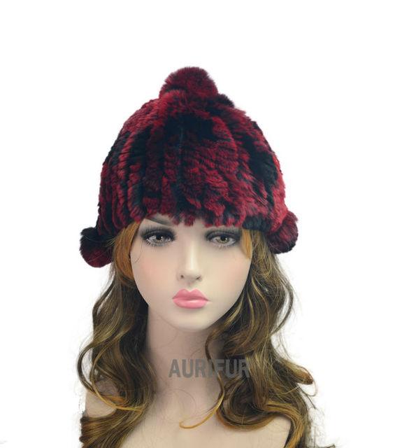 2017 Niños Encantadores Caps Gorros de Piel de Conejo Rex Lindo niñas gorros de invierno niños sombreros de piel reales head circunferencia 40 cm AU00861