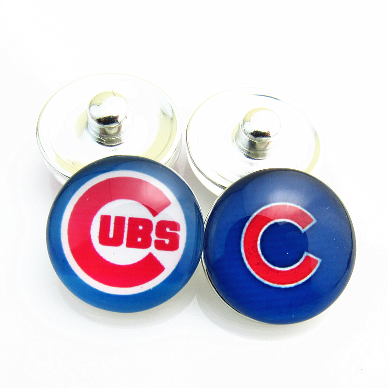 Hot Sell Baseball Sports Mix Chicago Cubs Logo Glass Snap Button