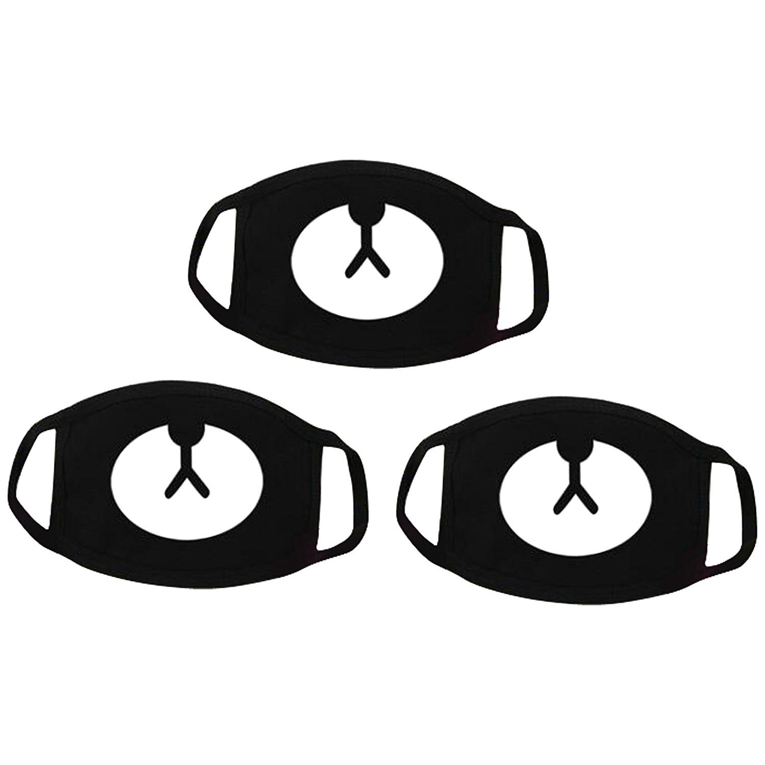 3 Pack Teeth Pattern Cute Unisex Cotton Blend Anti Dust Face Mouth Mask Black For Man Woman