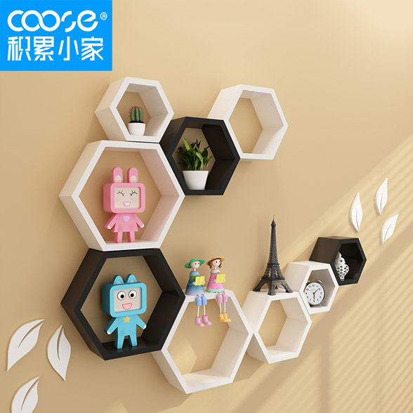 Accumulation of small home TV backdrop decorative wall shelving ...
