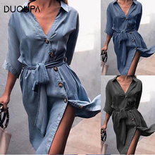 DUOUPA 2019 Fashion New V-neck Straps in the Sleeves Dress Womens Clothing