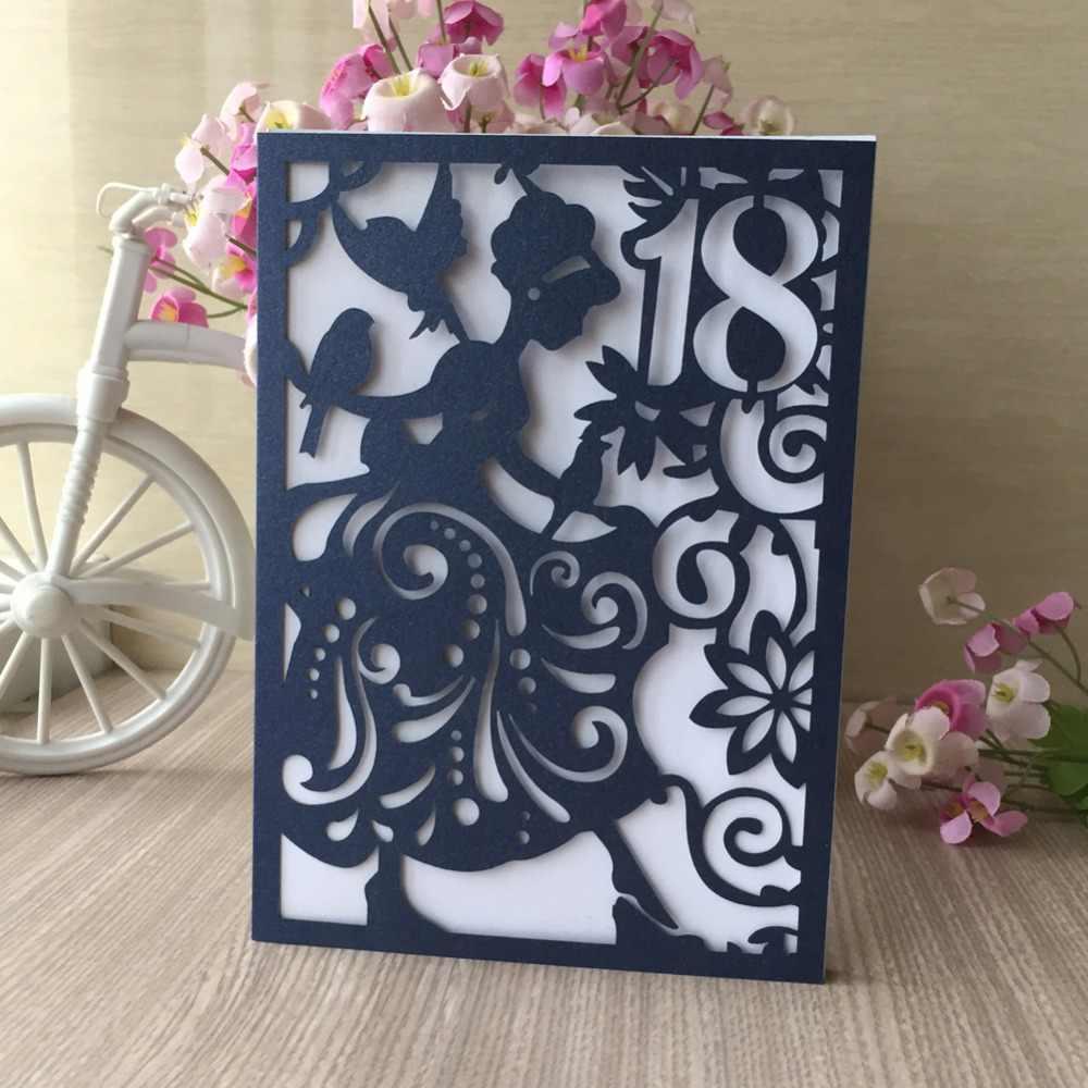 100 ピース/ロット中空レーザーカットパール紙少女カスタムフィギュア結婚式の招待状カードスウィートガール大人のギフトカード