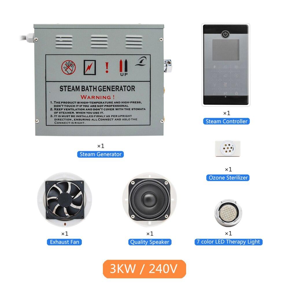 Nouveau 1 ensemble Bluetooth FM Radio Écran Tactile Panneau De Commande 3KW 220-240 V Salle De Bains Spa Douche À Vapeur Sauna accessoires De Bain Générateur