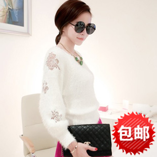 2014 Real Top Fasion Silk Fashion Coat Pullovers Autumn Seahorse Sweater Pullover Loose Cutout Embroidered Design High Waist