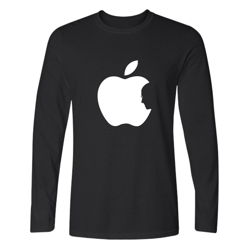 Steve Jobs Apple Design Funny Printed T Shirt Men Long Sleeve T-shirts And Classic Apple TShirt Funny In Cotton Tee Shirts image