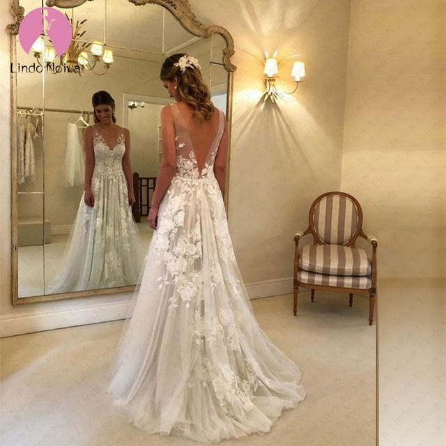Boho Wedding Dresses 2019 New Style Tulle Appliques V Neck Bohemian Bridal Gowns Lace Wedding Dress Robe De Mariee