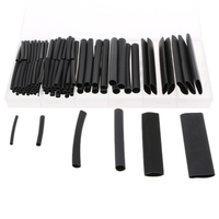 142 шт 3:1 Черный Полиолефиновый термоусадочный комплект трубок 6 размеров 3,2-19,1 мм
