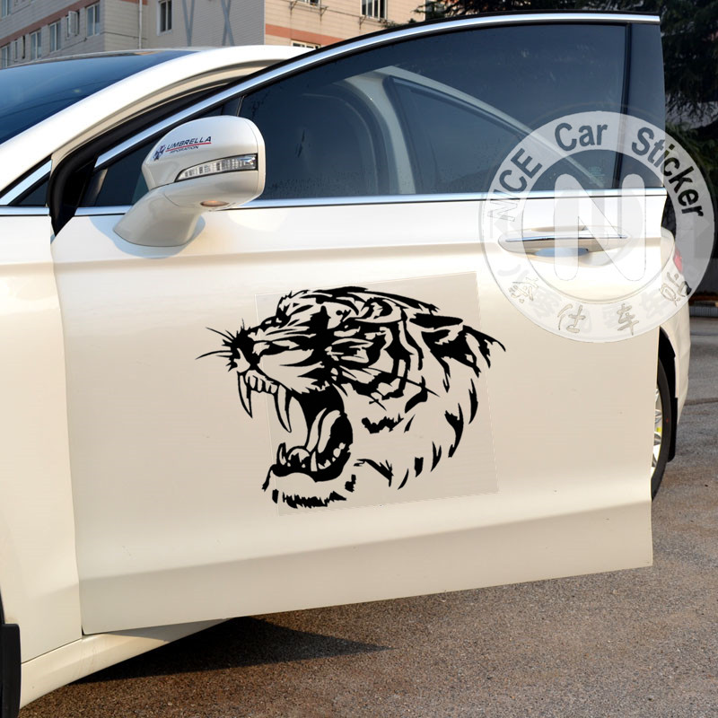 Car Stickers Tiger Head Roaring Creative Decals For Doors Auto Tuning Styling Waterproof Duad 34*24cm & 50*36cm D21