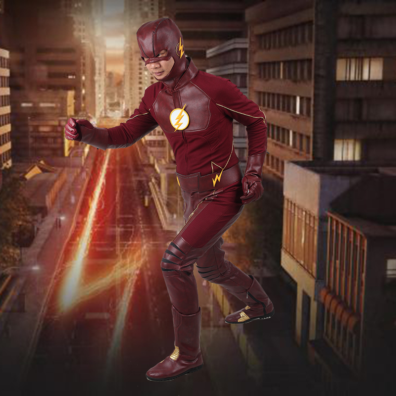 The Flash Barry Allen Cosplay Costume Outfit With Boots Men's Costume The Flash Season 2 Costume Flash Superhero Custom Made