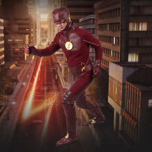 Manles The Flash Cosplay Costume With Boots Men's Costume The Flash Season 1 Barry Allen Costume Flash Superhero Cosplay