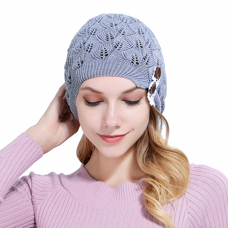 Fashion New Women's Hat  Warm Beanie Leaves Lace Cap Two Button Hats For Women Autumn Winter Outdoor Knitted Caps Sport Beanies new car brand formula one fashion laid back match car team sport baseball cap cool unisex sun outdoor hat for autumn and winter