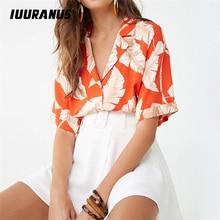 IUURANUS Summer Blouse Women Short Sleeve Chiffon Casual Boho Style Floral Print Tops Turn Down Collar Office Shirt 3XL